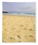 Alone At Bolonia Beach Fleece Blanket