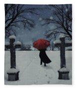 Alone In The Snow Fleece Blanket