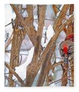 Alone In The Snow Storm Fleece Blanket