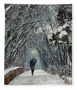 Alone In The  Winter Fleece Blanket