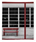 Alone - Red Bench - Windows Fleece Blanket