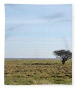 Alone Tree At A Coastal Grassland Fleece Blanket