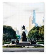 Along The Benjamin Franklin Parkway In Philadelphia Fleece Blanket