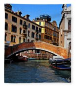 Along The Canals Of Venice Fleece Blanket