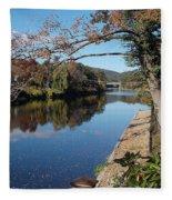 Along The River In Shelbourne Falls Fleece Blanket