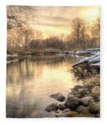 Along The Thames River  Fleece Blanket