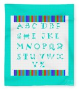 Alphabet Blue Fleece Blanket