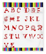 Alphabet With Multicolor Fleece Blanket