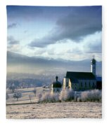 Alpine Scenery With Church In The Frosty Morning Fleece Blanket
