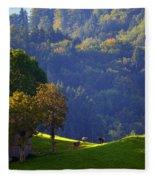Alpine Summer Scene In Switzerland Fleece Blanket