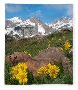 Alpine Sunflower Mountain Landscape Fleece Blanket