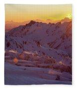 Alpine Sunset On High Alpine Glacier Fleece Blanket