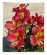 Alstroemeria In Pastel Fleece Blanket