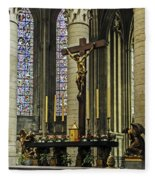 Altar Of Rouen Cathedral Fleece Blanket