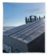 Aluminum Fishing Boat And Boots Drying On Fence Fleece Blanket