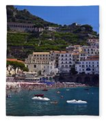 Amalfi Beach And Town Fleece Blanket