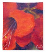 Amaryllis Flower Fleece Blanket