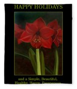 Amaryllis Flower Holiday Card Fleece Blanket