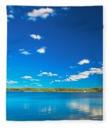 Amazing Clear Lake Under Blue Sunny Sky Fleece Blanket