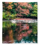 Amazing Fall Foliage Along A River In New England Fleece Blanket