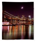 Amazing New York Skyline And Brooklyn Bridge With Moon Rising Fleece Blanket