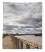 Amble Harbour And Village Fleece Blanket