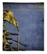 American Bittern With Brush Calligraphy Lingering Mind Fleece Blanket