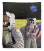 American Cat Astronauts Fleece Blanket