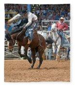 American Cowboy Riding Bucking Rodeo Bronc II Fleece Blanket