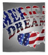 American Dream Digital Typography Artwork Fleece Blanket