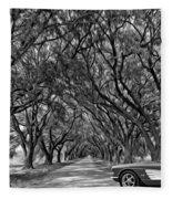 American Dream Drive 2 Bw Fleece Blanket