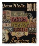 American Dream-route 66 Fleece Blanket