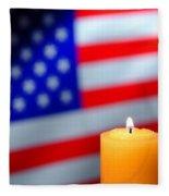 American Flag And Candle Fleece Blanket
