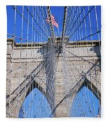 American Flag Flying Over Brooklyn Fleece Blanket