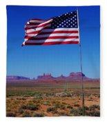 American Flag In Monument Valley Fleece Blanket