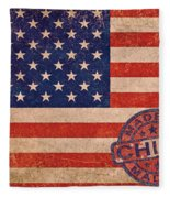 American Flag Made In China Fleece Blanket