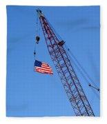 American Flag On Construction Crane Fleece Blanket