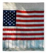 American Flag On Garage After Thomas Fleece Blanket