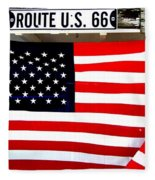American Flag Route 66 Fleece Blanket