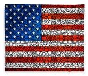 American Flag - Usa Stone Rock'd Art United States Of America Fleece Blanket