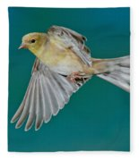American Goldfinch Hen In Flight Fleece Blanket