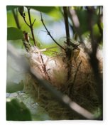 American Goldfinch Nest Under Construction Fleece Blanket