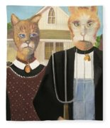 American Gothic Cat Fleece Blanket