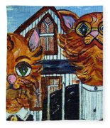 American Gothic Cats - A Parody Fleece Blanket