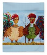 American Gothic Down On The Farm - A Parody Fleece Blanket