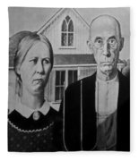 American Gothic In Black And White 1 Fleece Blanket