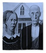 American Gothic In Cyan Fleece Blanket