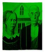 American Gothic In Green Fleece Blanket