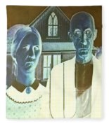 American Gothic In Negative Fleece Blanket