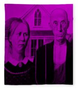 American Gothic In Purple Fleece Blanket
